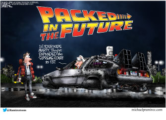 Political Cartoon U.S. democrats court packing back to the future