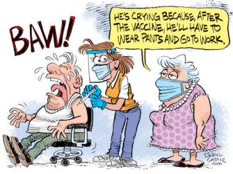 Editorial Cartoon U.S. covid vaccine work from home