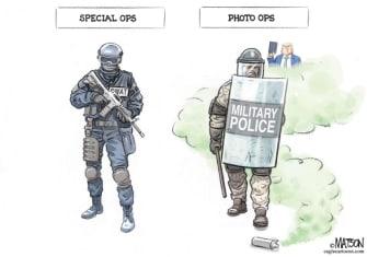 Political Cartoon U.S. Trump police Bible photo op