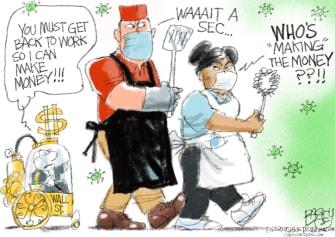 Editorial Cartoon U.S. coronavirus workers wealthy reopening