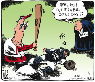 Political Cartoon U.S. Mitch McConnell Justice Roberts constitution baseball umpire