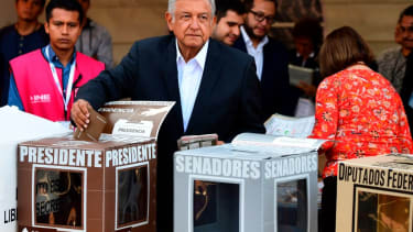 Mexico's presidential candidate Andres Manuel Lopez Obrador for the 'Juntos haremos historia' party, casts his vote during general elections, in Mexico City, on July 1, 2018.