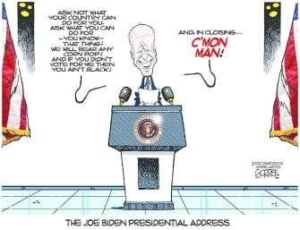 Political Cartoon U.S. 2020 Election Joe Biden Presidential Speech Gaffes