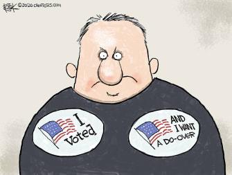 Editorial Cartoon U.S. I voted sticker