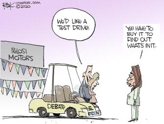 Political Cartoon U.S. Pelosi Biden 2020 debate
