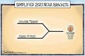 Editorial Cartoon U.S. ncaa march madness covid bracket basketball