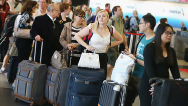 Passengers at O'Hare Airport in Chicago.