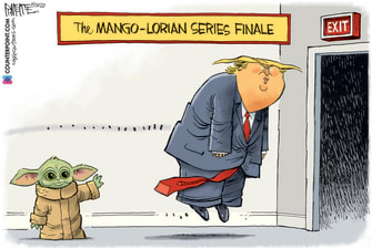 Political Cartoon U.S. Trump Mandalorian Baby Yoda