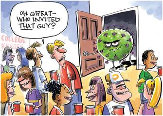 Editorial Cartoon U.S. covid college party