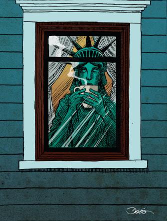 Editorial Cartoon U.S. Lady Liberty social distancing waiting out coronavirus