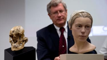 """The recreation of """"Jane"""" and the 14-year-old colonialist's skull (left)."""