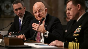 From left: Defense Undersecretary for Intelligence Marcell Lettre II, Director of National Intelligence James Clapper, and United States Cyber Command and National Security Agency Director Ad