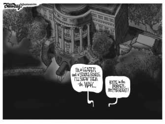 Political Cartoon U.S. Trump George Floyd bunker
