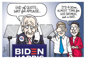 Political Cartoon U.S. Biden 2020