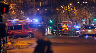 Police around Boulevard Baumarchais following an attack in Paris on November 13.