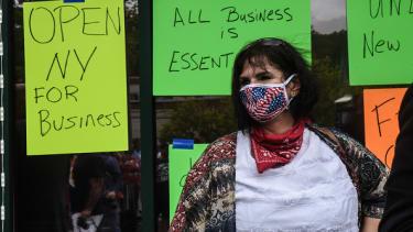 A woman protesting New York's coronavirus lockdown.