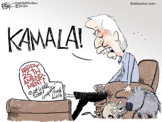 Political Cartoon U.S. Biden Harris foot