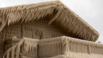 A frozen house.
