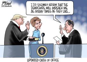 Political Cartoon U.S. Trump Impeachment Updated Oath Of Office