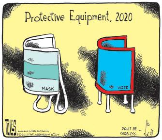 Political Cartoon U.S. Coronavirus COVID-19 Protection Masks Voting Election 2020