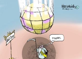 Editorial Cartoon U.S. 2020 ball drop new years