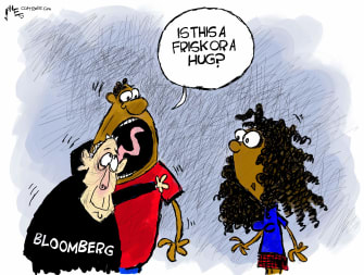 Political Cartoon U.S. Michael Bloomberg Democrats New York 2020 election stop and frisk black voters
