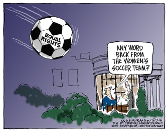 Political Cartoon USWNT White House Invitation Equal Pay Soccer Bal