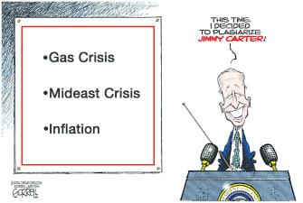 Political Cartoon U.S. biden jimmy carter gas prices israel