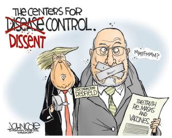 Political Cartoon U.S. Trump CDC COVID Redfield