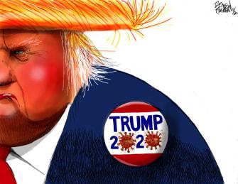 Political Cartoon U.S. Trump covid 2020