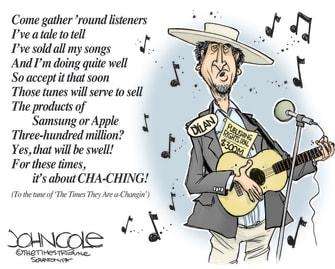 Editorial Cartoon U.S. Bob Dylan Universal catalog sale