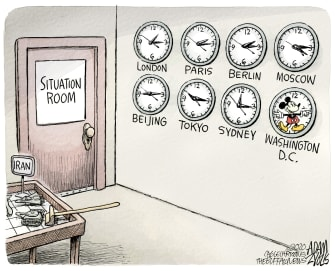 Political Cartoon U.S. Trump situation room Iran Mickey Mouse