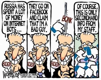 Political Cartoon U.S. Joe Biden Facebook Russia bots election interference unconfirmed data