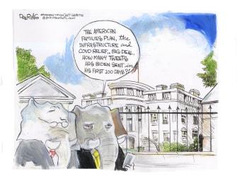 Political Cartoon U.S. biden gop trump tweets