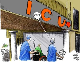 Editorial Cartoon U.S. COVID hospitals
