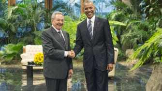 President Obama meets with Cuban President Raul Castro.