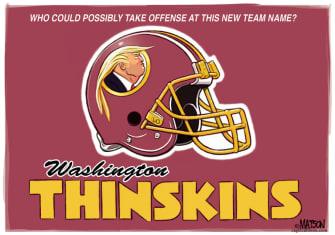 Political Cartoon U.S. Trump Redskins name change