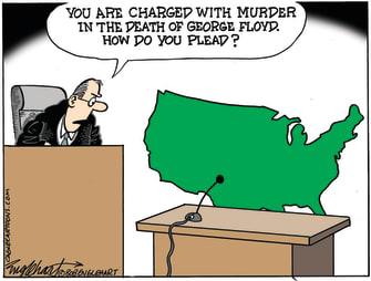 Political Cartoon U.S. derek chauvin trial
