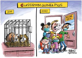 Editorial Cartoon U.S. coronavirus school guinea pigs