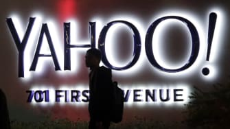 Yahoo sign at company headquarters in Sunnyvale, Calif