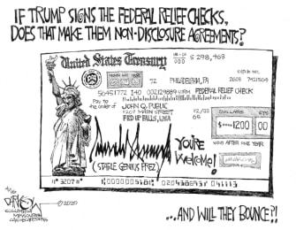 Political Cartoon U.S. Trump stimulus checks non disclosure agreement