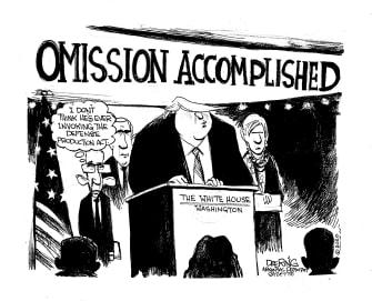 Political Cartoon U.S. Trump Dr. Fauci Coronavirus defense production act briefings