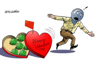 Editorial Cartoon World covid valentines day