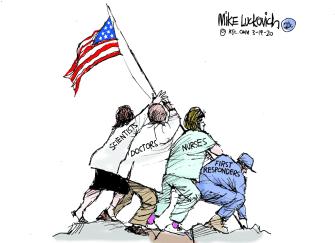 Editorial Cartoon U.S. doctors nurses scientist first responders soldiers coronavirus