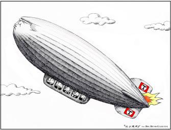 Political Cartoon U.S. Trump GOP hindenburg