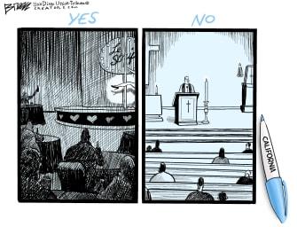 Editorial Cartoon U.S. California COVID church strip club