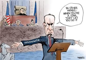 Political Cartoon U.S. Trump Alan Dershowitz Senate impeachment trial celebrity defense