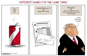 Political Cartoon U.S. President Trump Absentee Voting Mail-in Ballot Sex Traffickers