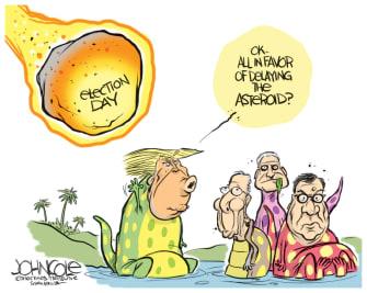 Political Cartoon U.S. Trump election delay 2020