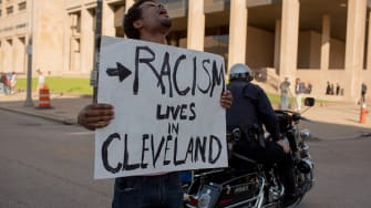 A protester in Cleveland.